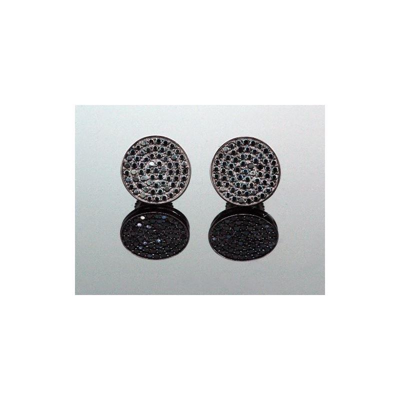 .925 Sterling Silver Black Circle Black  58353 1