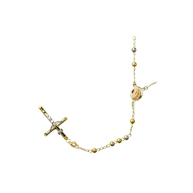 10K 3 TONE Gold HOLLOW ROSARY Chain - 28 59543 1