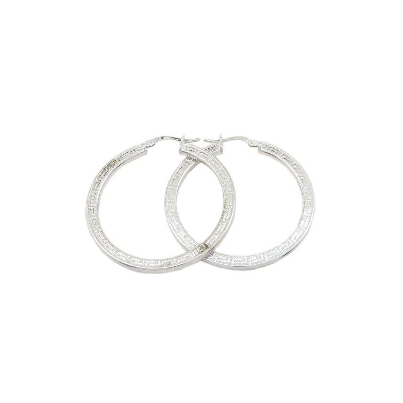 Round greek key hoop earring SB84 38mm t 79373 1