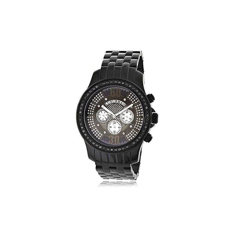 Trendy Mens Genuine Black Diamond Watch  90853 1