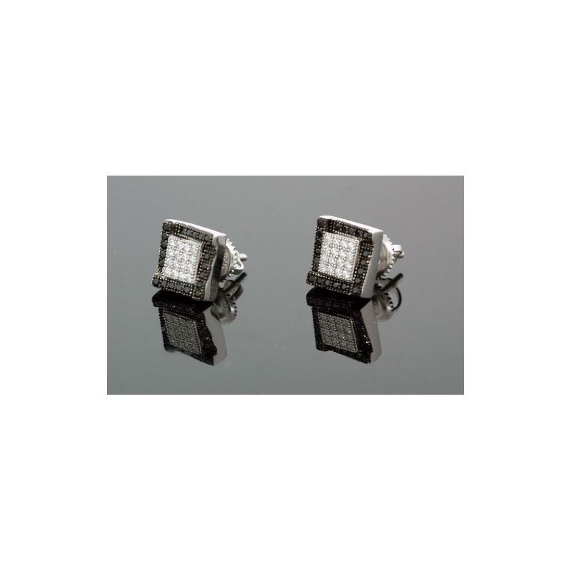 .925 Sterling Silver White Square Black  58650 1
