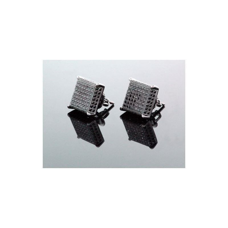 .925 Sterling Silver Black Square Black  58415 1