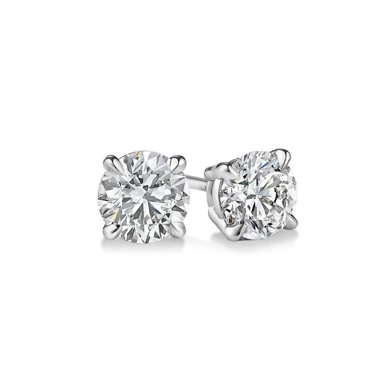Gold Round Cut Diamond Stud Earrings 0.9 73399 1