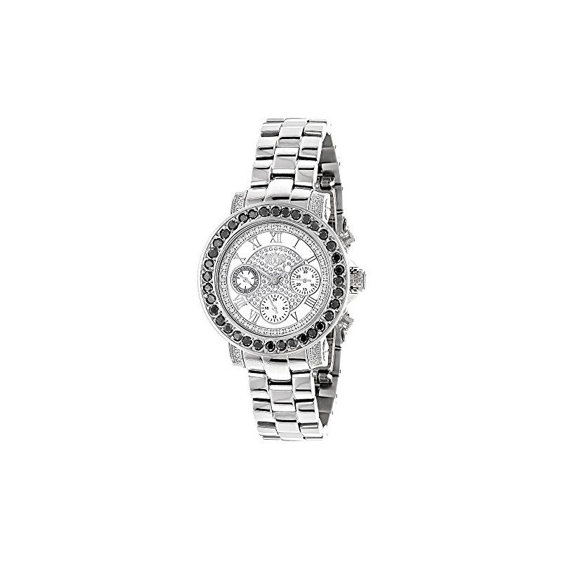 Luxurman Watches: Ladies Genuine Black D 90625 1