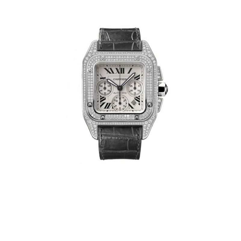 Cartier Santos 100 Diamond 18kt White Go 55215 1