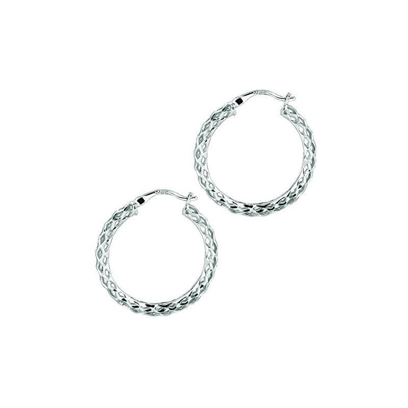 Ladies White Rhodium Silver Diamond Cut  75003 1