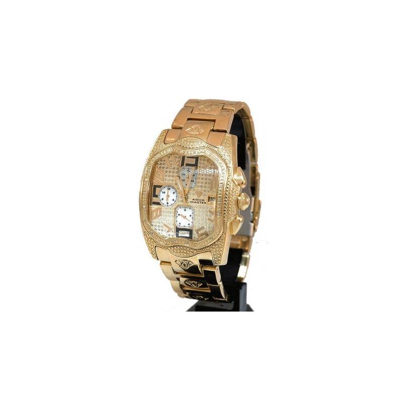 Aqua Master Mens Diamond Watch Gold 20809 1