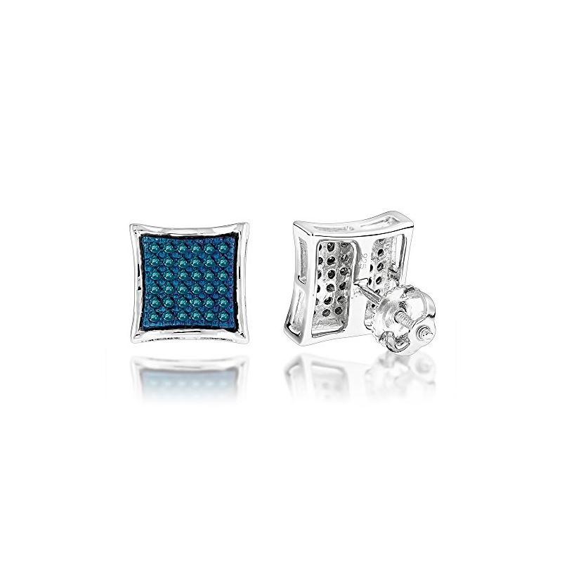 Blue Diamond Stud Earrings Silver (0.3 C 72919 1