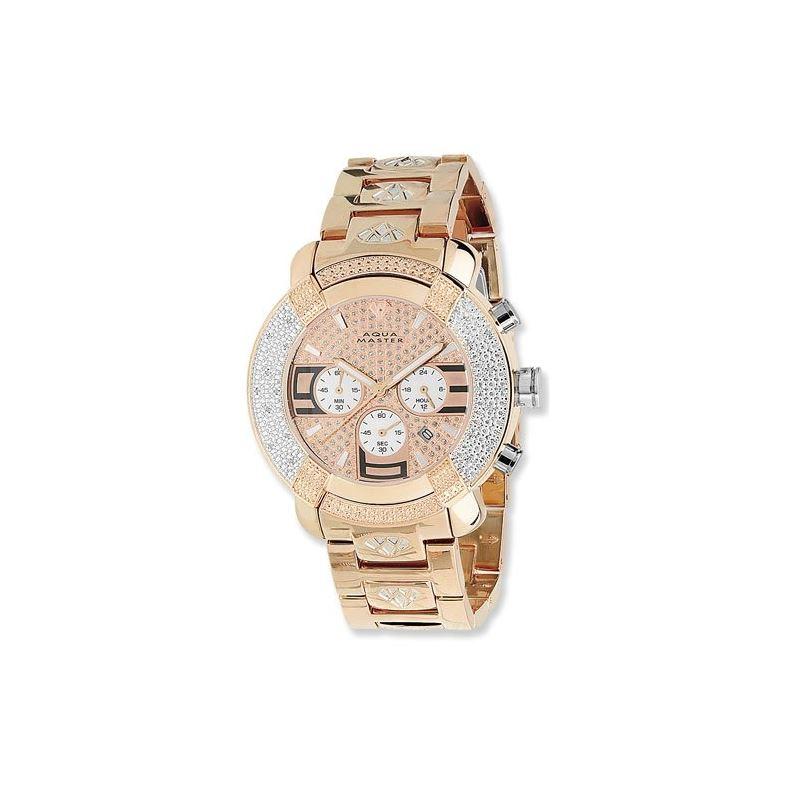 45Mm Round 20 Diamonds Rose Gold Case Watch