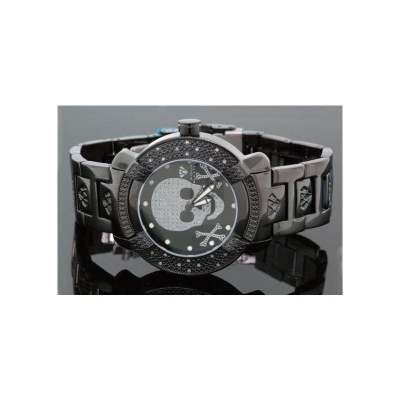 Aqua Master Mens Black Skull Diamond Wat 54573 1