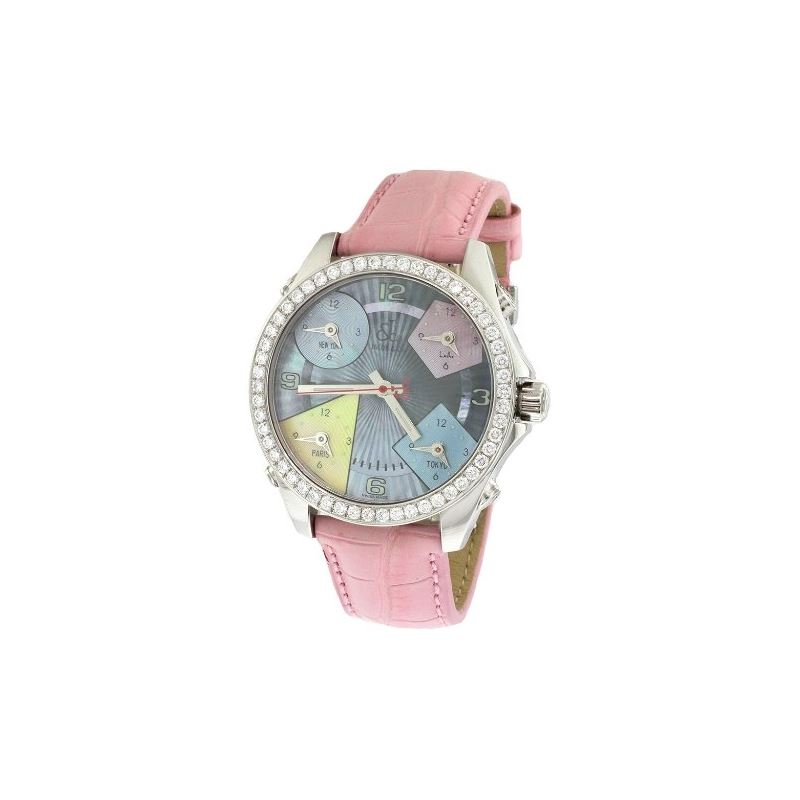 Jacob Co Pink Band 5Time Zone Mother Of Pearl Dial