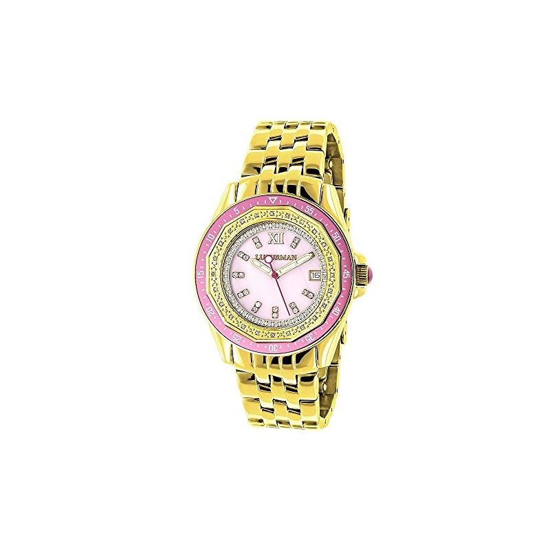 Yellow Gold Plated Ladies Real Diamond P 91040 1