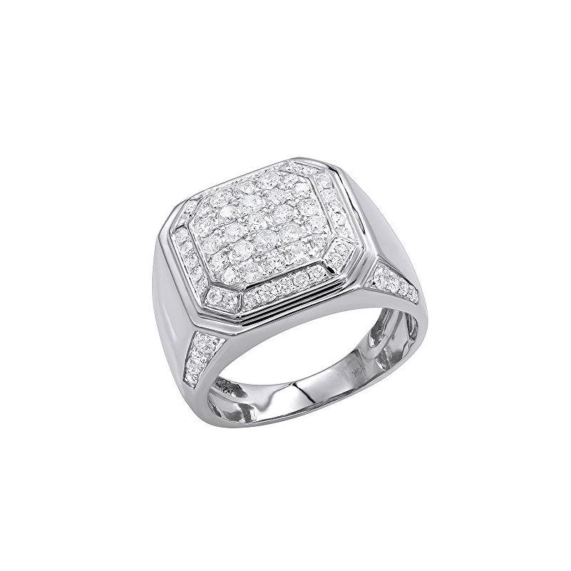 Mens 10K Gold Diamond Wedding Band Pinky Ring 2Ctw