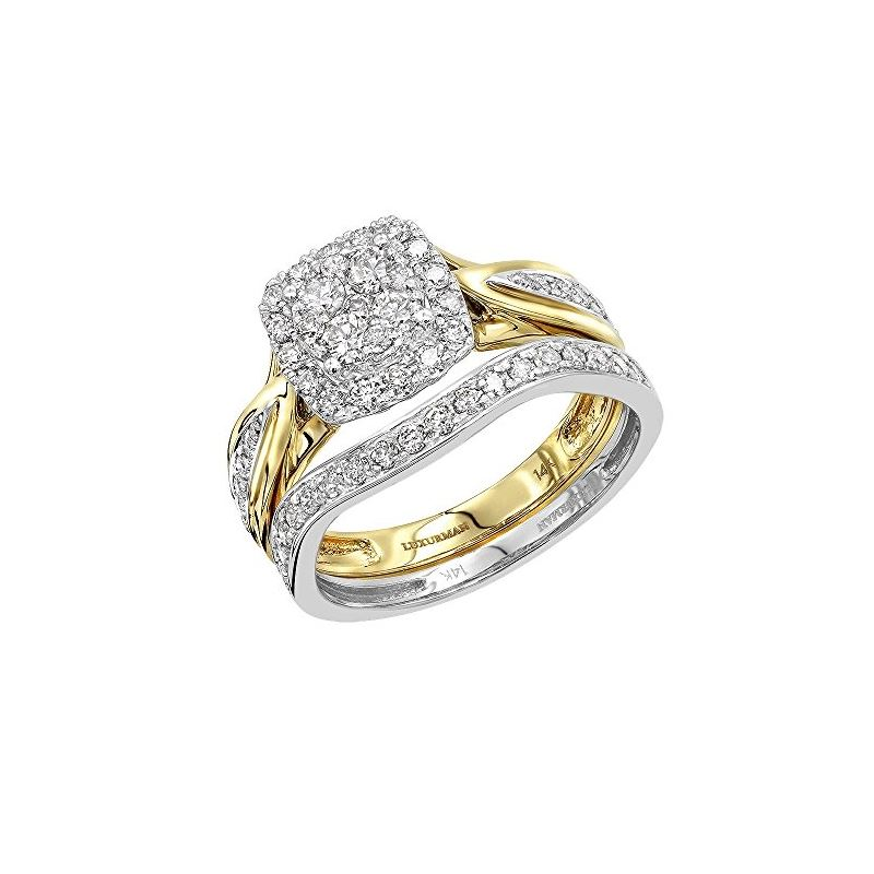 14K Two-Tone Gold Affordable Diamond Engagement Ri