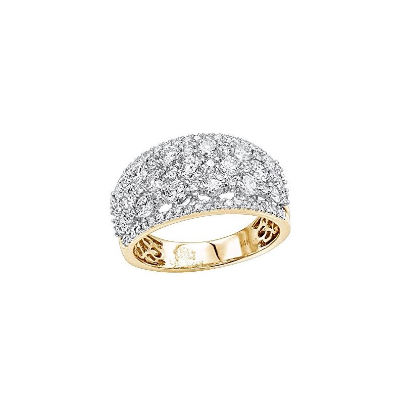 14K Gold Designer Diamond Wedding Band Ladies Ring