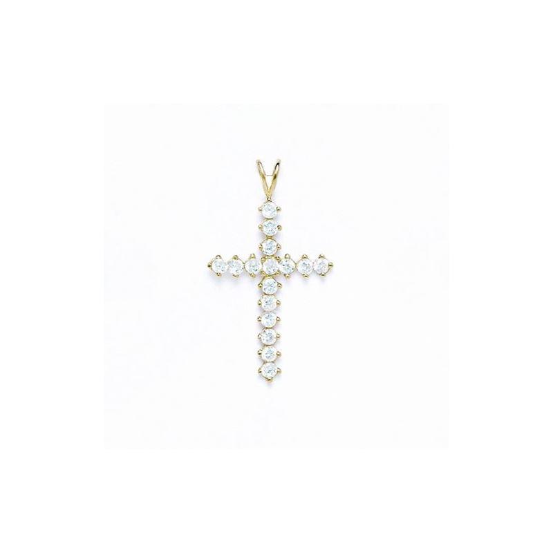 14K Gold Cross Pendant CZ P54 63506 1
