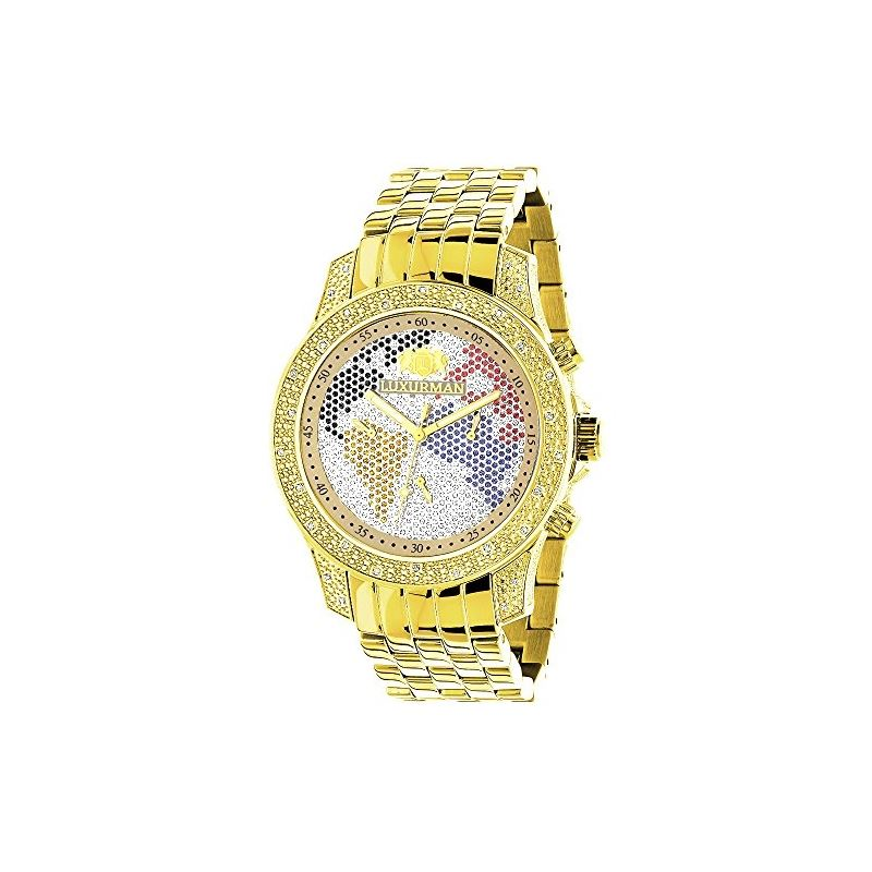 Men's World Map Analog Quartz Gold Plated Watc
