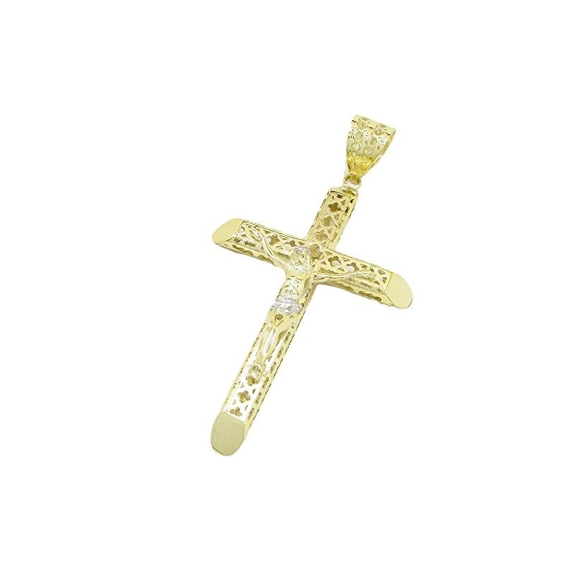 Mens 10k Yellow Gold Jesus cross with st 77663 1