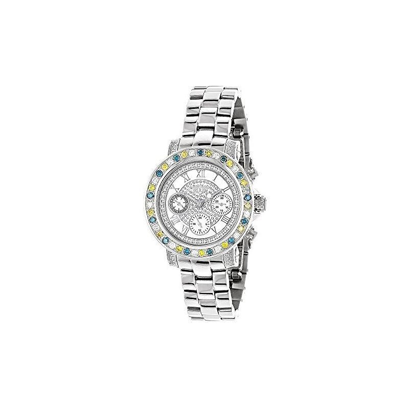 Luxurman Watches: Ladies White Yellow Bl 91065 1