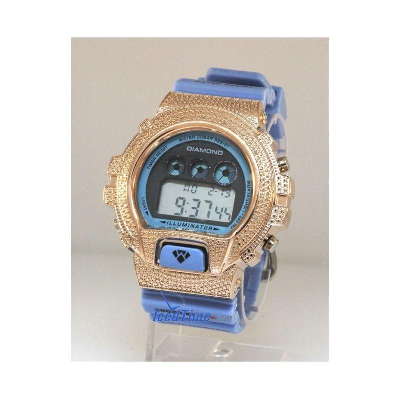 Aqua Master Shock Diamond Mens Rose Watc 55506 1