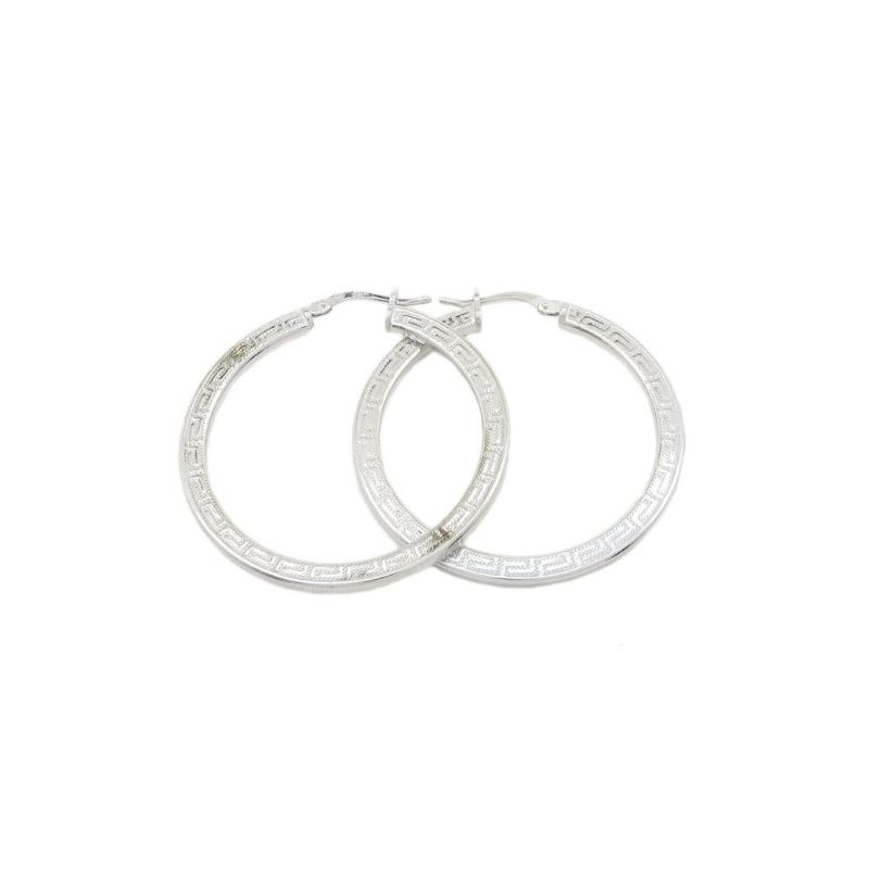Round greek key hoop earring SB87 33mm t 79391 1