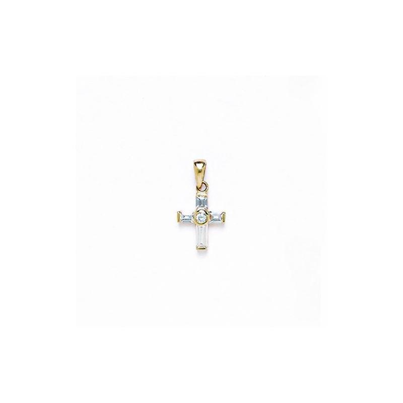 14K Gold Cross Pendant CZ P44 63496 1