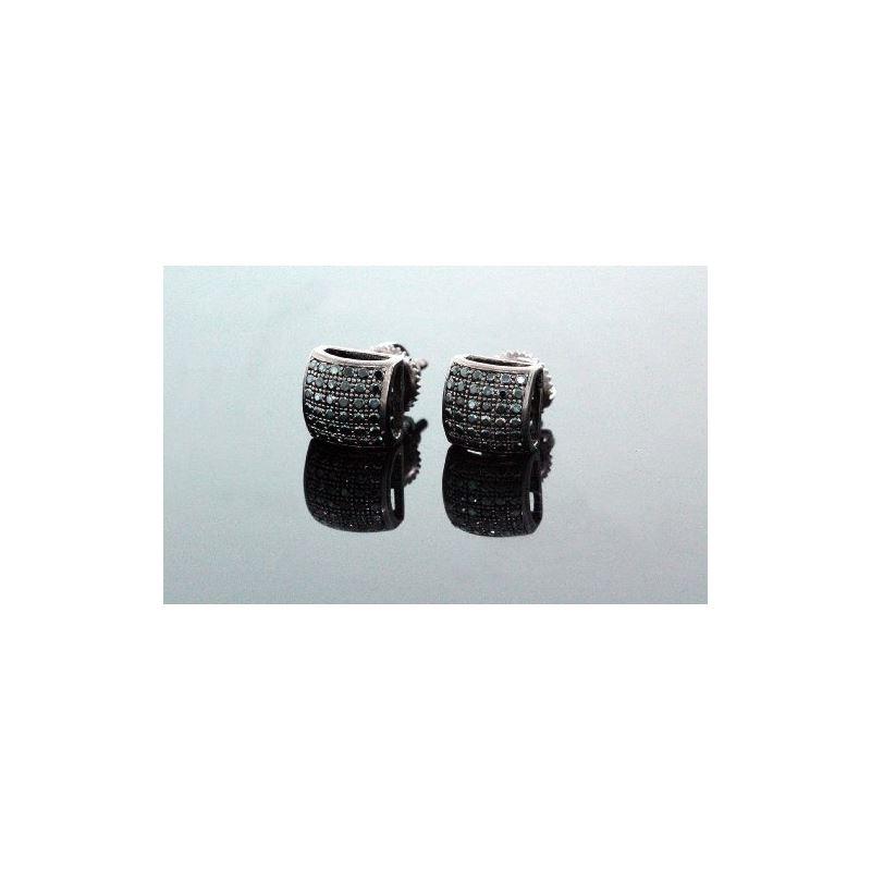 .925 Sterling Silver Black Square Black  58439 1