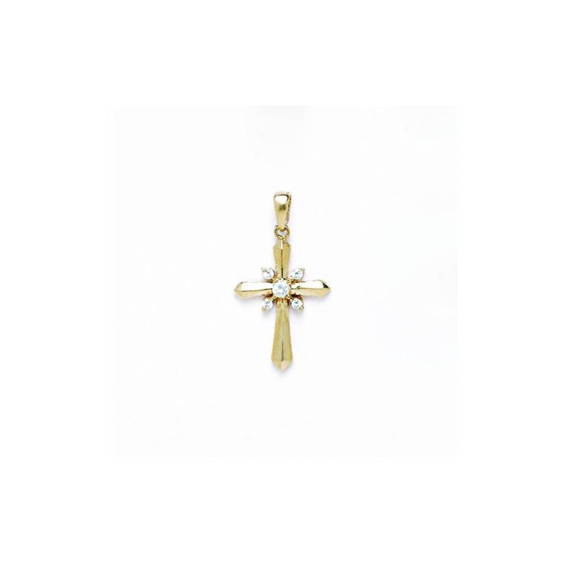14K Gold Cross Pendant CZ P48 63500 1