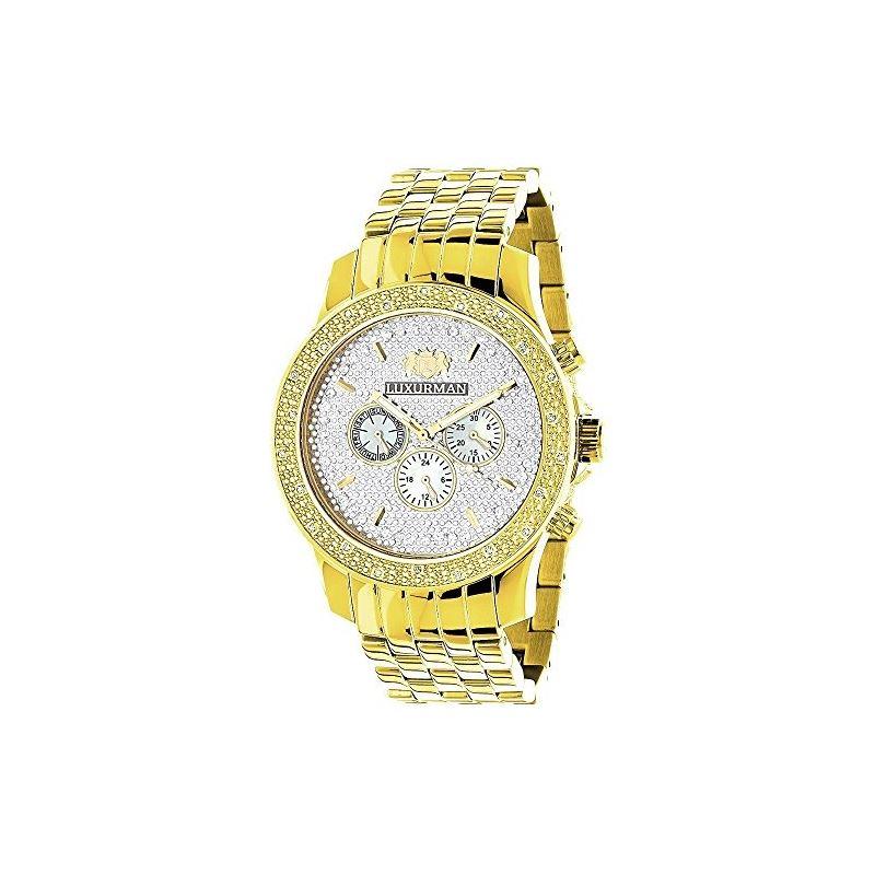 Yellow Gold Tone Watches: Luxurman Mens  91130 1
