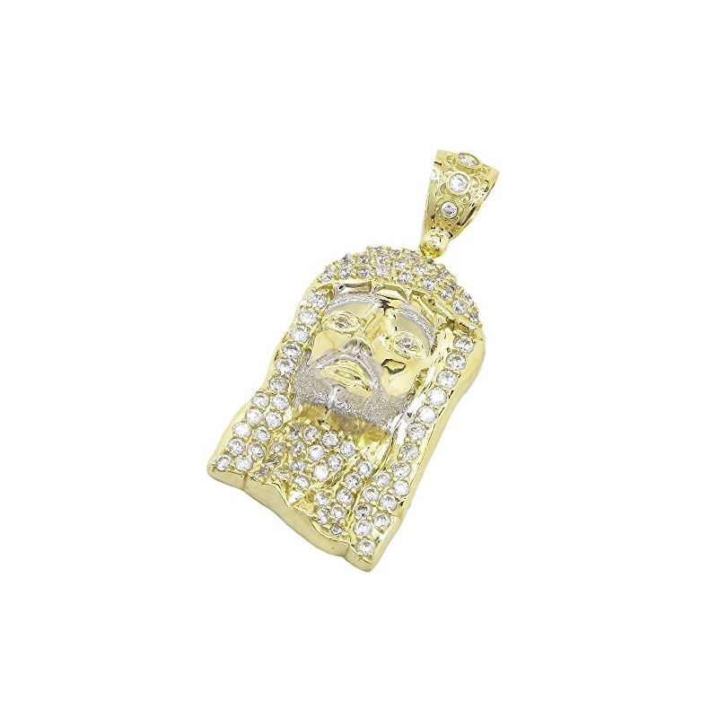 Mens 10k Yellow Gold Jesus head with sto 77707 1