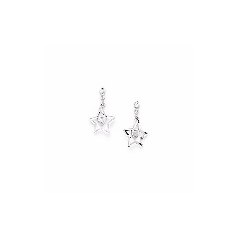14K White Gold star oval drop shap with  66162 1