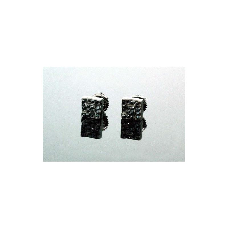 .925 Sterling Silver Black Square Black  58444 1