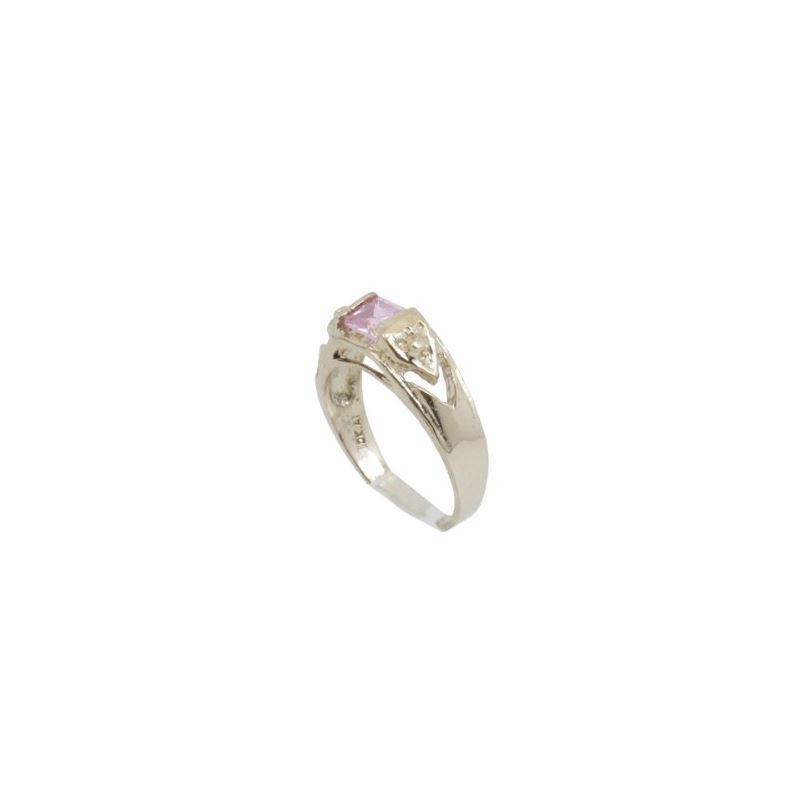 10k Yellow Gold Syntetic pink gemstone r 62344 1