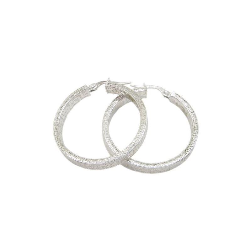 Round greek key hoop earring SB90 28mm t 79409 1