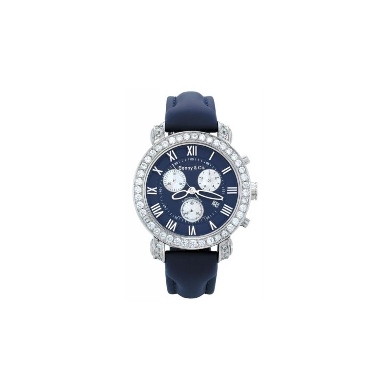 Benny Mens 3ctw Diamond Watch Navy 89470 1