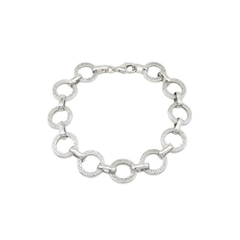 Sterling silver greek key round link bra 80634 1