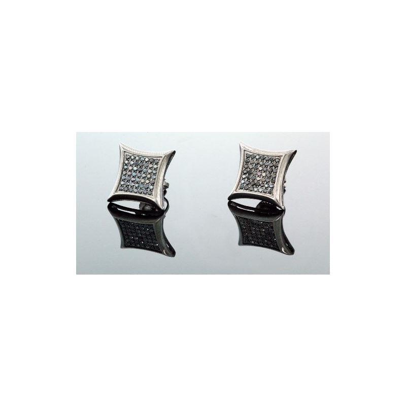 .925 Sterling Silver Black Square Black  58412 1