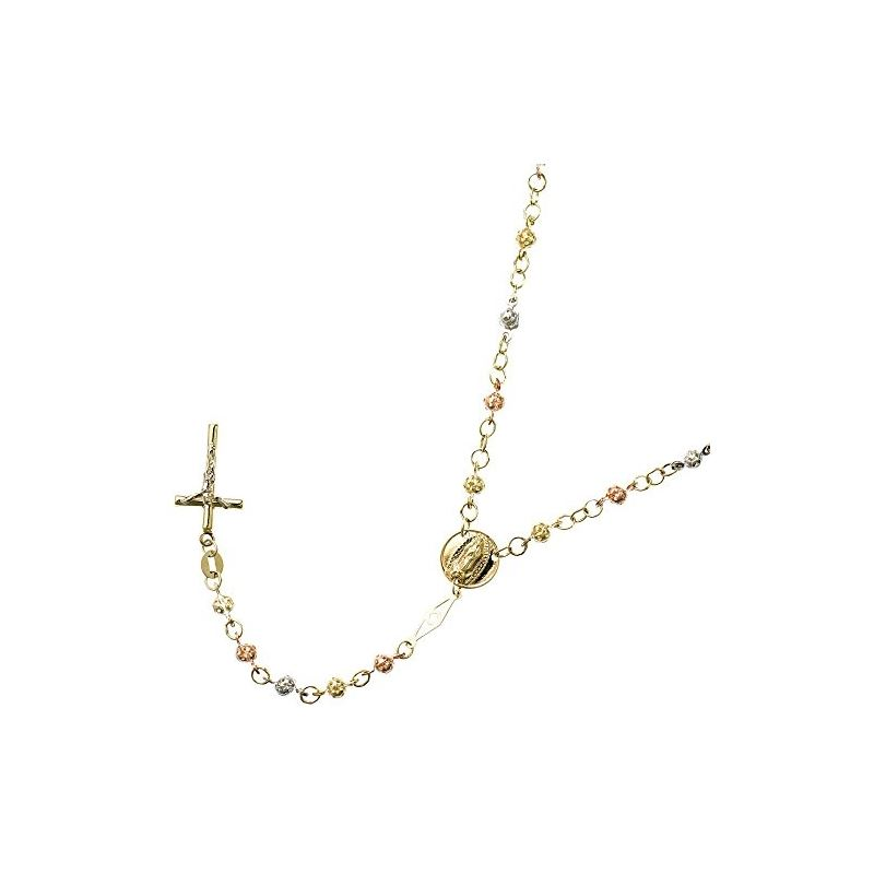 10K 3 TONE Gold HOLLOW ROSARY Chain - 30 59552 1