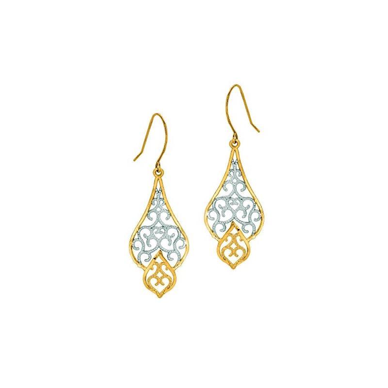 10K Tri-Color Gold Ladies Drop Earrings  59719 1