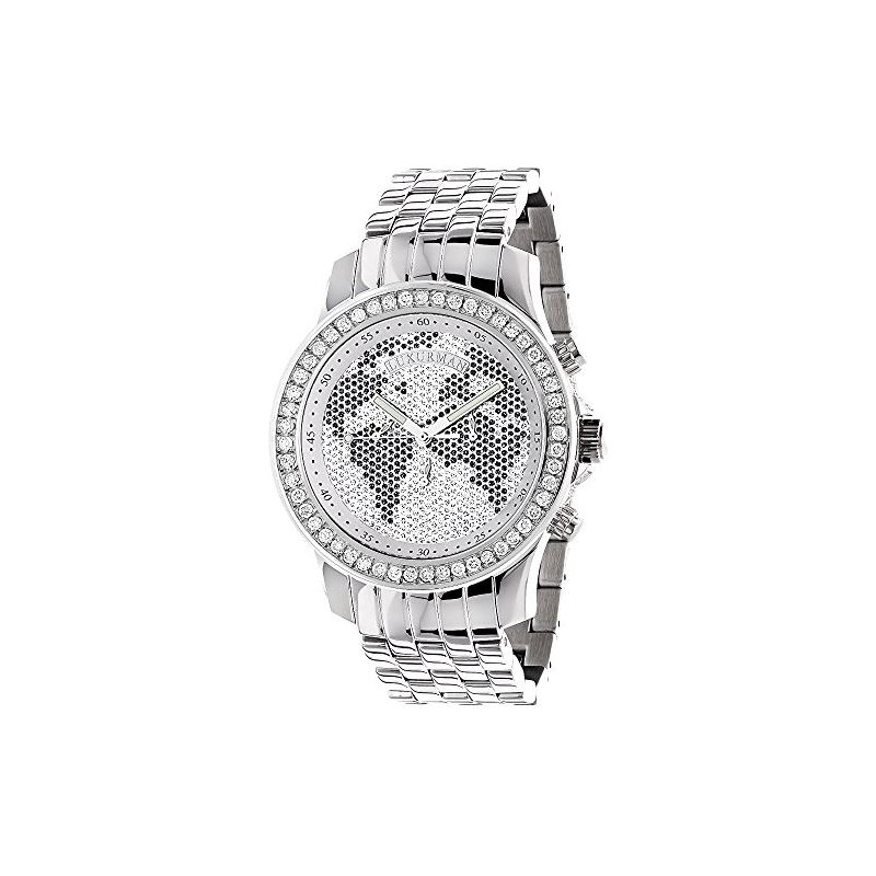 World Map Watches: Mens Diamond Watch 2.50Ct