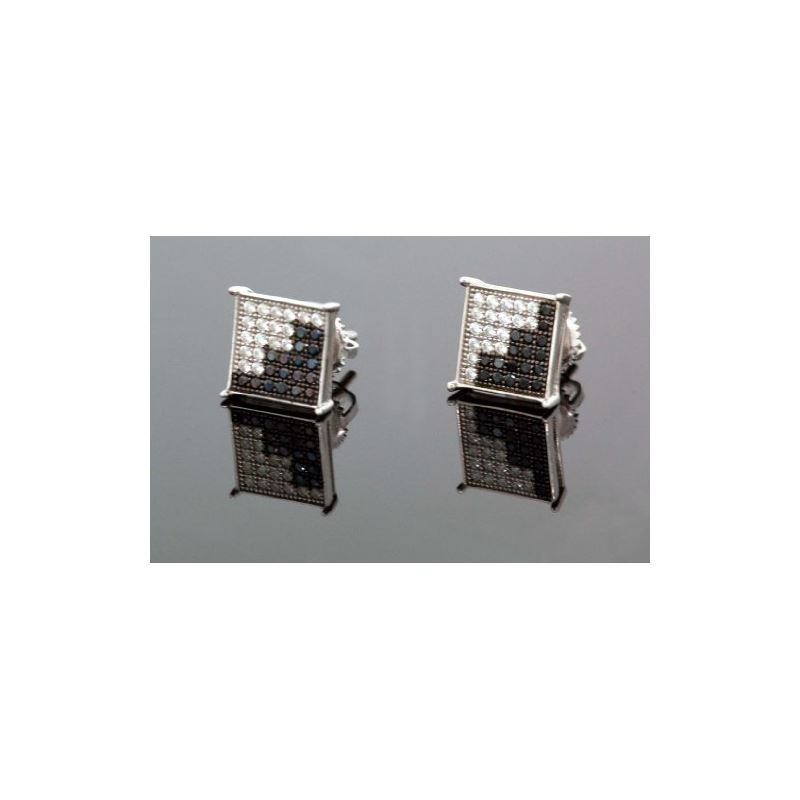 .925 Sterling Silver White Square Black  58647 1