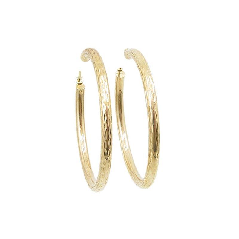 10k Yellow Gold earrings Diamond cut hoo 60540 1
