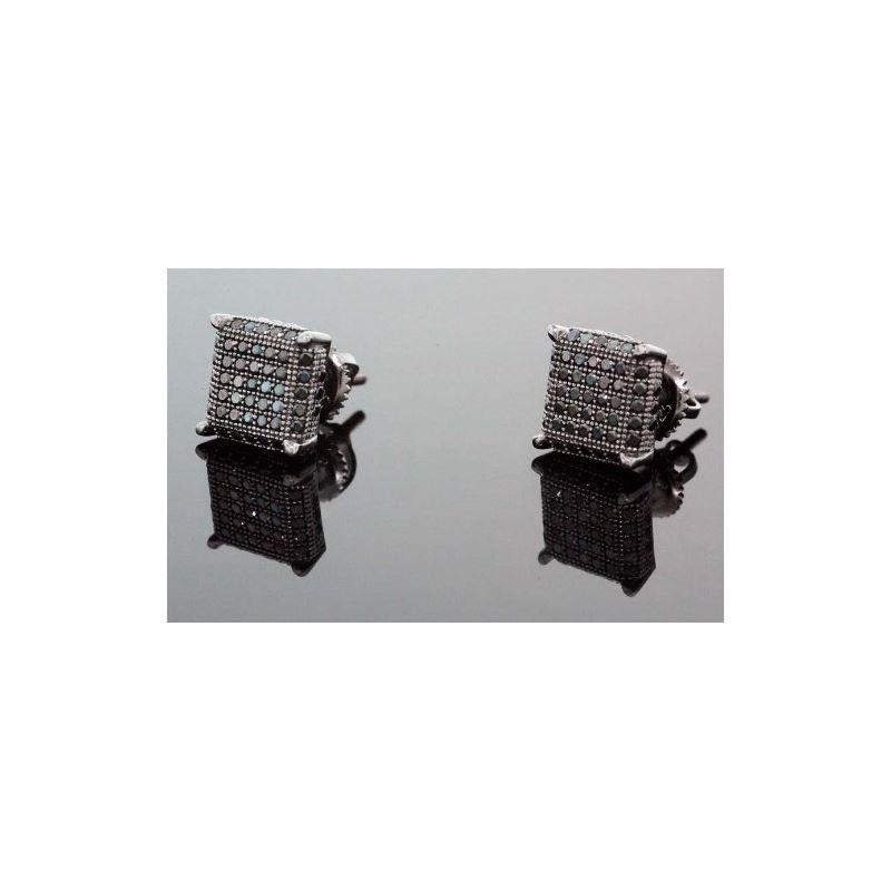 .925 Sterling Silver Black Square Black  58447 1