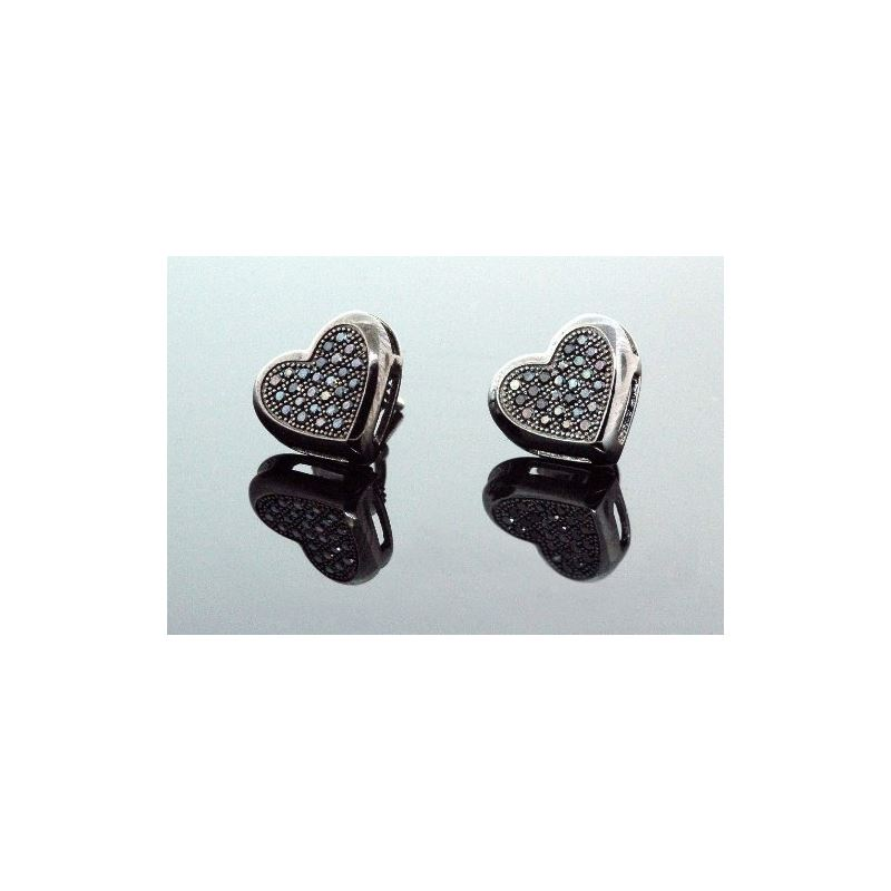 .925 Sterling Silver Black Heart Black O 58371 1
