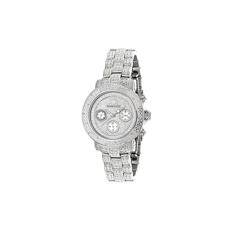 Ladies Large Iced Out Diamond Watch 1.5Ctw By Mont