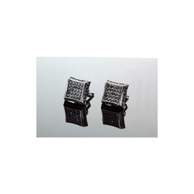 .925 Sterling Silver Black Square Black  58430 1