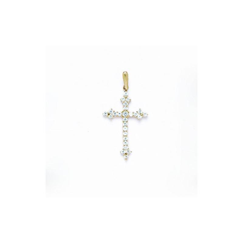 14K Gold Cross Pendant CZ P50 63502 1