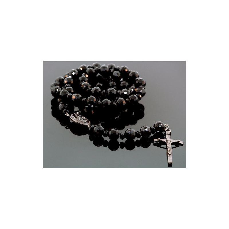 Mens Genuine Black Onyx Crusifix Rosary  78711 1