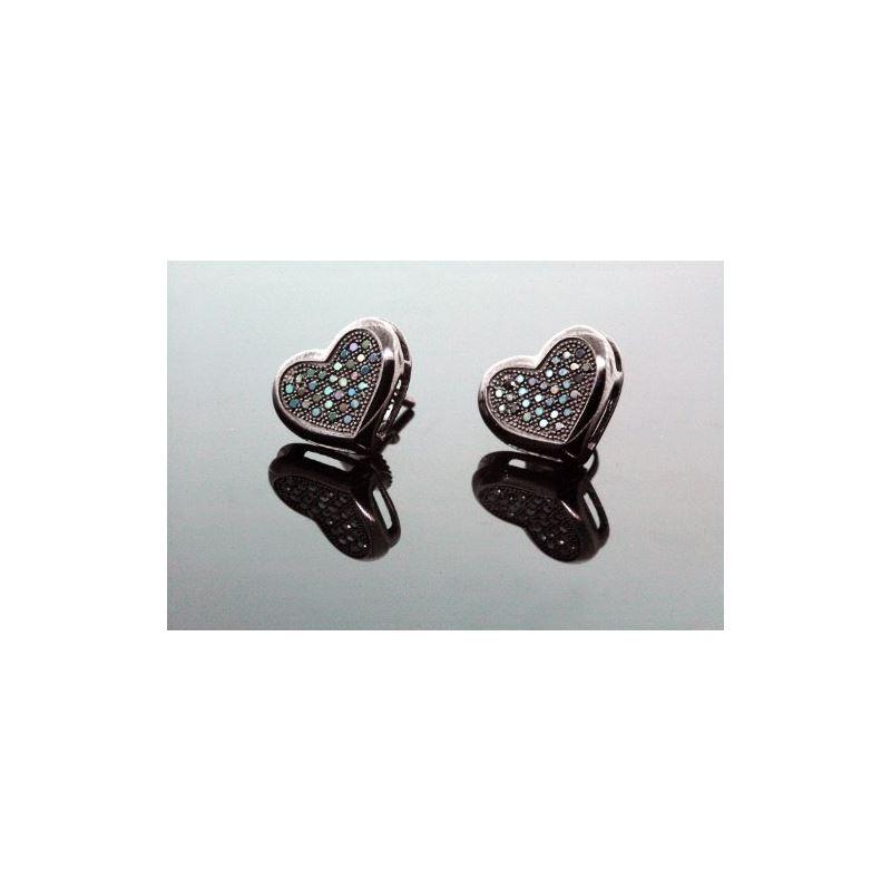 .925 Sterling Silver Black Heart Black O 58362 1