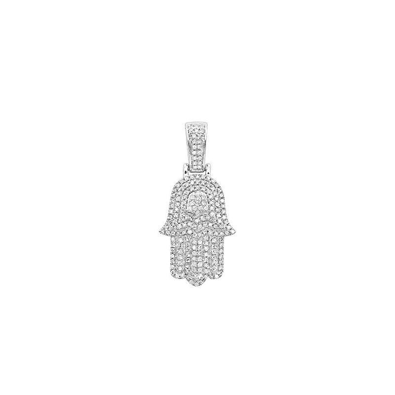 Jewish Jewelry: Small 14K Gold Diamond Hamsa Hand